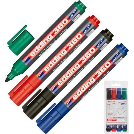 Маркеры для доски EDDING 360, набор 4 шт., круглый наконечник 1,5-3 мм (черный, красный, синий, зеле