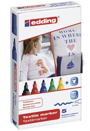 Набор маркеров для ткани Edding Маркеры для ткани 2-3 мм 5 шт ассорти infinity by acoola 2 шт shae 3 ассорти