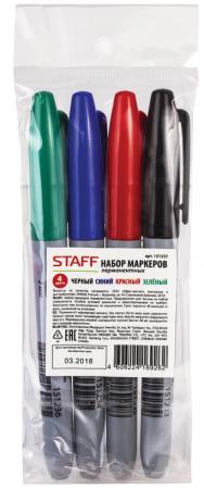 Набор маркеров перманентных STAFF Маркеры перманентные (нестираемые) 2.5 мм 4 шт ассорти