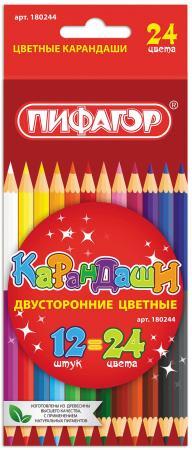 Набор цветных карандашей ПИФАГОР 180244 12 шт 176 мм двухсторонние