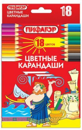 Набор цветных карандашей ПИФАГОР 180297 18 шт 176 мм набор цветных карандашей action поезд динозавров 18 шт dt acp105 18 dt acp105 18