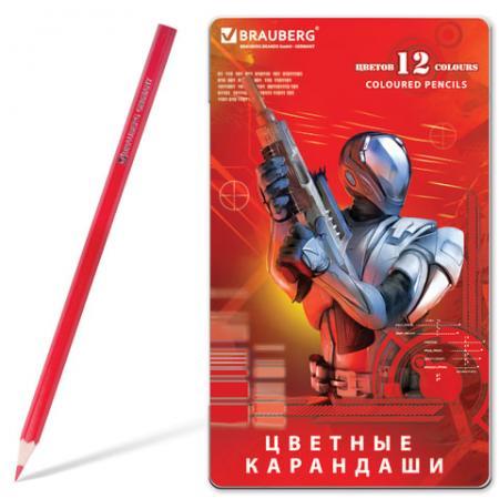 Набор цветных карандашей BRAUBERG Star Patrol 12 шт 176 мм набор цветных карандашей transformers prime 12 шт