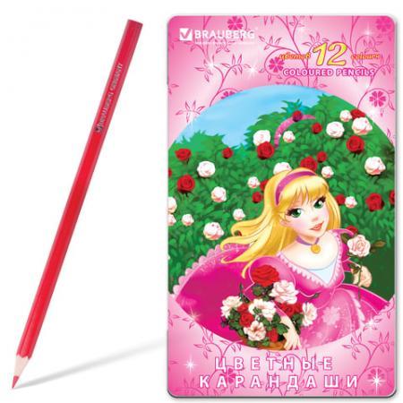 Набор цветных карандашей BRAUBERG Rose Angel 12 шт 176 мм набор цветных карандашей transformers prime 12 шт