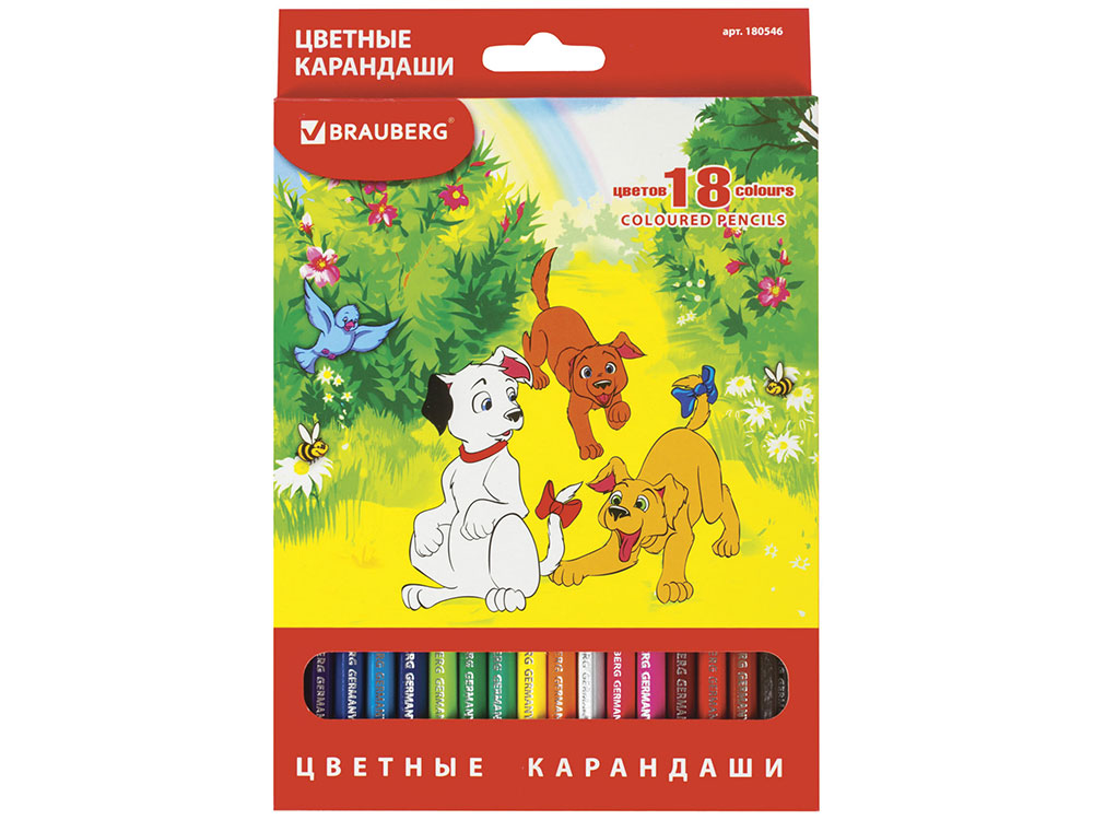 Набор цветных карандашей BRAUBERG My lovely dogs 18 шт 176 мм lovely дегидратор 10 мл