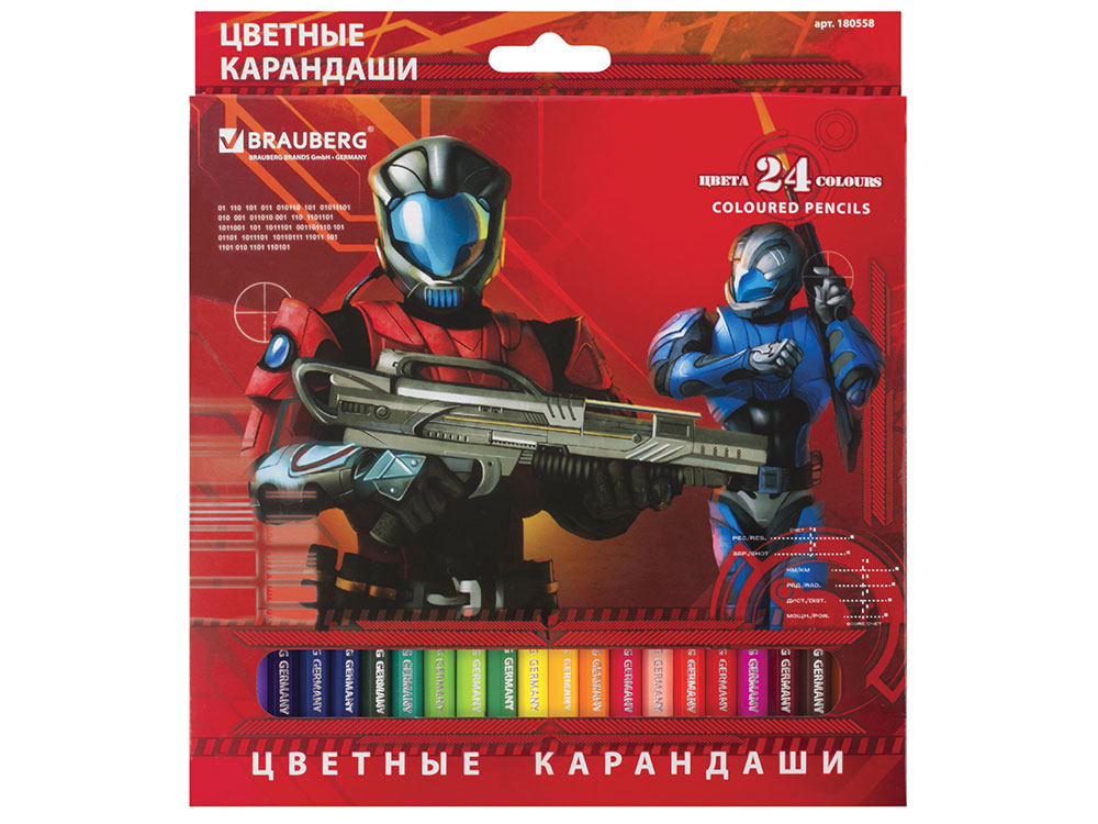 Набор цветных карандашей BRAUBERG Star Patrol, 24 цвета, заточенные, картонная упаковка derwent набор карандашей procolour 24 цвета