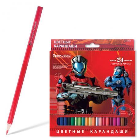 """Набор цветных карандашей BRAUBERG """"Star Patrol"""", 24 шт 172 мм"""