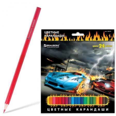 "Набор цветных карандашей BRAUBERG ""InstaRacing"" 24 шт 176 мм"