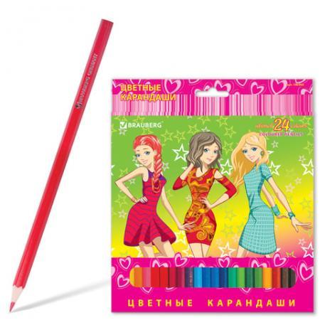 """Набор цветных карандашей BRAUBERG """"Pretty Girls"""" 24 шт 176 мм"""