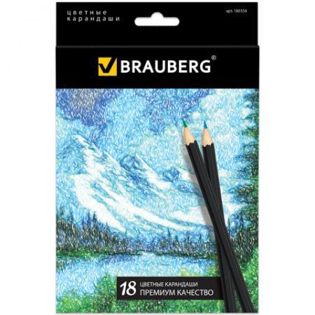 Набор цветных карандашей BRAUBERG Artist line 18 шт набор цветных карандашей action поезд динозавров 18 шт dt acp105 18 dt acp105 18