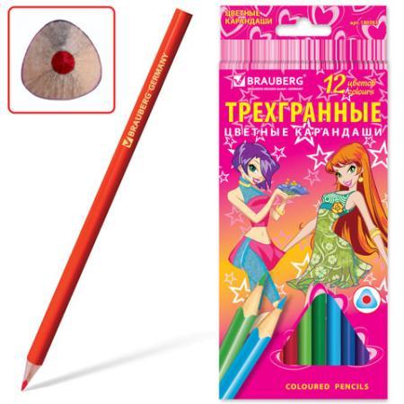 Набор цветных карандашей BRAUBERG Pretty Girls 12 шт 176 мм набор цветных карандашей transformers prime 12 шт