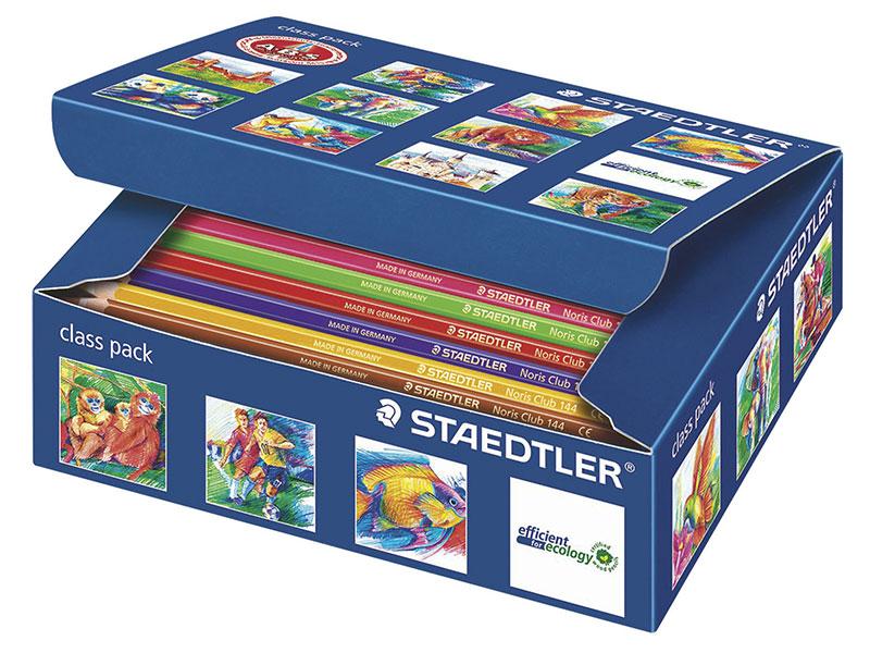 Набор цветных карандашей Staedtler Noris Club 144 шт 175 мм 12 цветов ручка капиллярная staedtler triplus broadliner 338 box338 30 цвет чернил голубой 10 шт