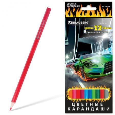 Набор цветных карандашей BRAUBERG InstaRacing, 12 шт 176 мм набор цветных карандашей transformers prime 12 шт