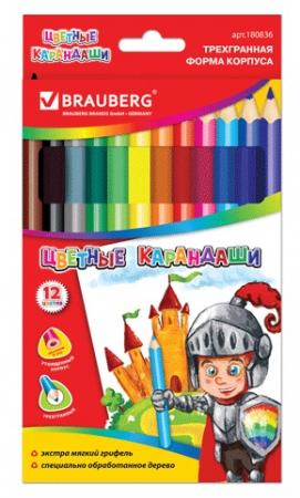 Набор цветных карандашей BRAUBERG Карандаши цветные 12 шт 176 мм утолщенные цена