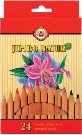 Набор цветных карандашей Koh-i-Noor Jumbo natur 24 шт 175 мм утолщенные