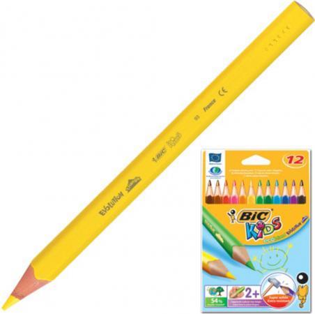 Карандаши цветные утолщенные BIC Triangle, 12 цветов, пластиковые, трехгранные, картонная упаковка цветные карандаши stabilo 12 цветов