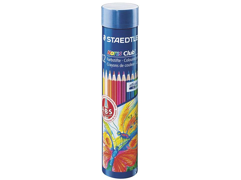 Набор цветных карандашей Staedtler Noris club 12 шт 175 мм в тубусе ручка капиллярная staedtler triplus broadliner 338 box338 30 цвет чернил голубой 10 шт