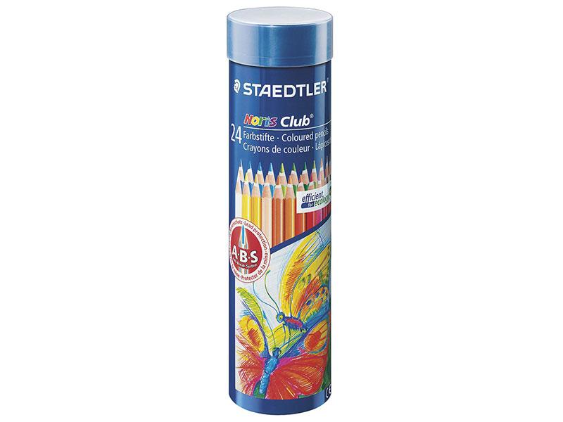 """Набор цветных карандашей Staedtler """"Noris club"""" 24 шт 175 мм 24 цвета, заточенные, металлический тубус"""