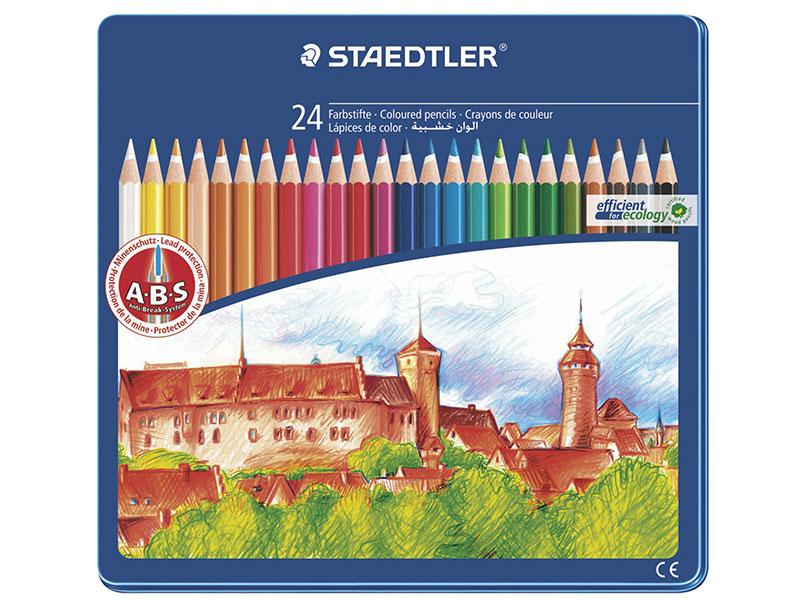 Набор цветных карандашей Staedtler Noris club 24 шт 175 мм ручка капиллярная staedtler triplus broadliner 338 box338 30 цвет чернил голубой 10 шт