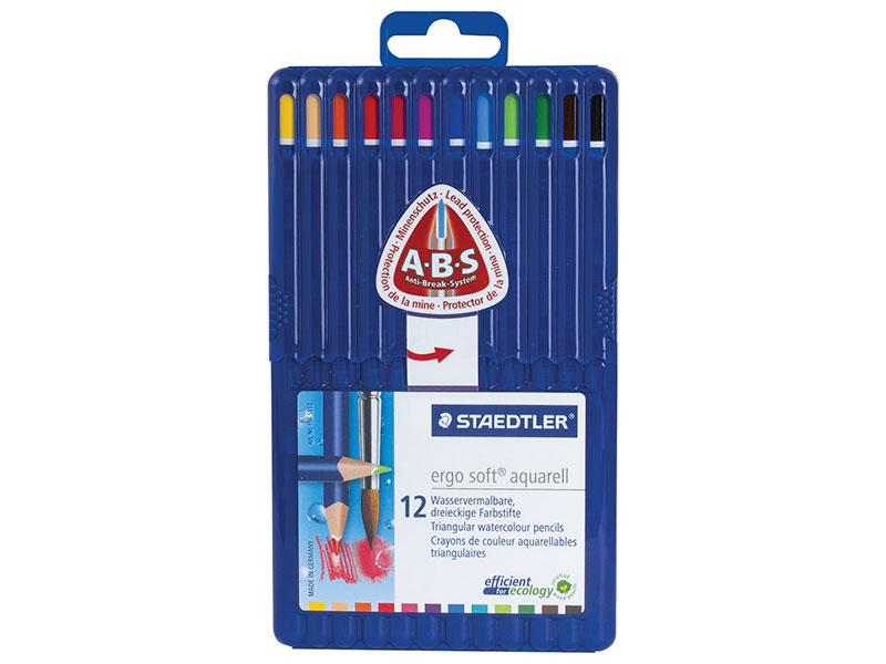 Набор цветных карандашей Staedtler Ergosoft 12 шт 175 мм трехгранные, пластиковый футляр ручка капиллярная staedtler triplus broadliner 338 box338 30 цвет чернил голубой 10 шт