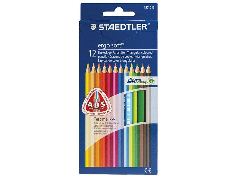 Набор цветных карандашей Staedtler Ergosoft 12 шт 175 мм трехгранные, картонная коробка ручка капиллярная staedtler triplus broadliner 338 box338 30 цвет чернил голубой 10 шт