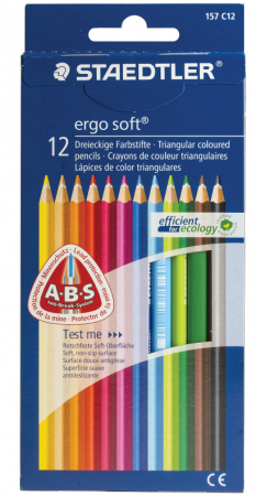 Набор цветных карандашей Staedtler Ergosoft 12 шт 175 мм трехгранные, картонная коробка банка картонная мелодия неба белый чай 76 175