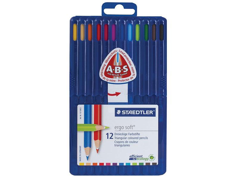 Набор цветных карандашей Staedtler Ergosoft 12 шт 175 мм ручка капиллярная staedtler triplus broadliner 338 box338 30 цвет чернил голубой 10 шт