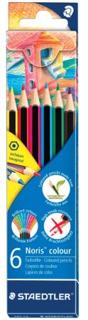 Набор цветных карандашей Staedtler Noris Color Ecology 6 шт 175 мм ручка капиллярная staedtler triplus broadliner 338 box338 30 цвет чернил голубой 10 шт
