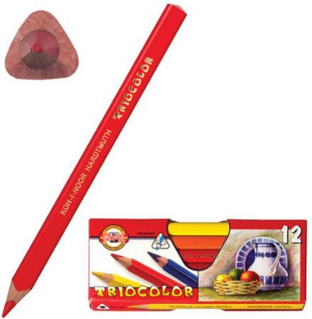 Карандаши цветные утолщенные KOH-I-NOOR Triocolor, 12 цветов, трехгранные, 5,6 мм, заточенные, 315 росмэн трехгранные цветные карандаши барбоскины 12 цветов