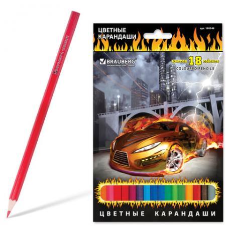 Набор цветных карандашей BRAUBERG InstaRacing 18 шт 176 мм набор цветных карандашей action поезд динозавров 18 шт dt acp105 18 dt acp105 18