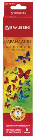 Набор цветных карандашей BRAUBERG Бабочки 6 шт 176 мм набор цветных карандашей феникс лошадь 32869 деревянные 6 шт