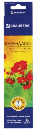 Набор цветных карандашей BRAUBERG Цветы 6 шт 176 мм набор цветных карандашей феникс лошадь 32869 деревянные 6 шт