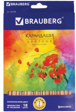 Набор цветных карандашей BRAUBERG Цветы 18 шт 176 мм набор цветных карандашей action поезд динозавров 18 шт dt acp105 18 dt acp105 18