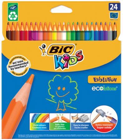 Карандаши цветные BIC Kids ECOlutions Evolution, 24 цвета, пластиковые, заточенные, европодвес, 93 ершик для унитаза primanova jose 36 10 2 см