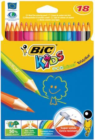 Карандаши цветные BIC Kids ECOlutions Evolution, 18 цветов, пластиковые, заточенные, европодвес, 9 фломастеры bic kids colour