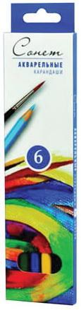 Карандаши цветные акварельные Сонет, 6 цветов, картонная упаковка с европодвесом, 8141337 акварельные карандаши colour pencils 36 цветов