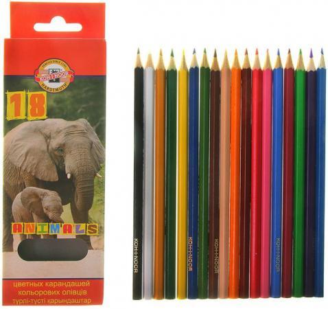 Карандаши цветные KOH-I-NOOR Animals, 18 цветов, грифель 2,8 мм, заточенные, европодвес, 355301800 mattel карандаши цветные enchantimals 18 цветов