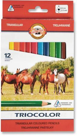 Карандаши цветные утолщенные KOH-I-NOOR Triocolor, 12 цветов, трехгранные, 5,6 мм, заточенные, 314 росмэн трехгранные цветные карандаши барбоскины 12 цветов