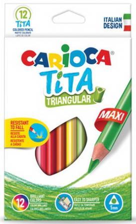 Карандаши цветные утолщенные CARIOCA Tita Triangular Maxi, 12 цветов, пластиковые, трехгранные, 5 carioca набор пластиковых мелков plastello 12 цветов