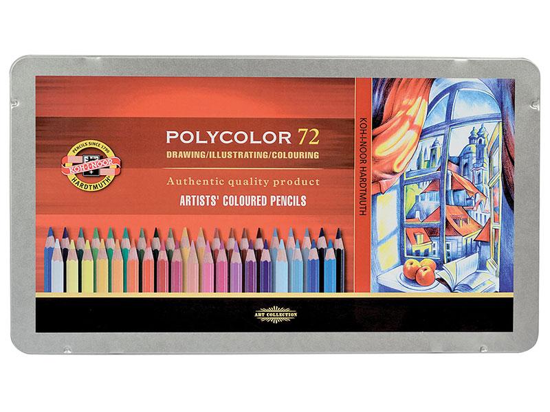 """Карандаши цветные художественные KOH-I-NOOR """"Polycolor"""", 72 цвета, 3,8 мм, металлическая коробка"""