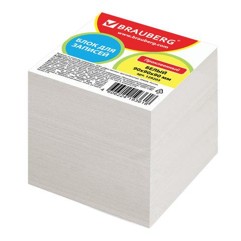Блок для записей BRAUBERG проклеенный, куб 9х9х9 см, белый, белизна 95-98%, 129203 блок для записей staff проклеенный куб 9х9х5 см белый белизна 70 80