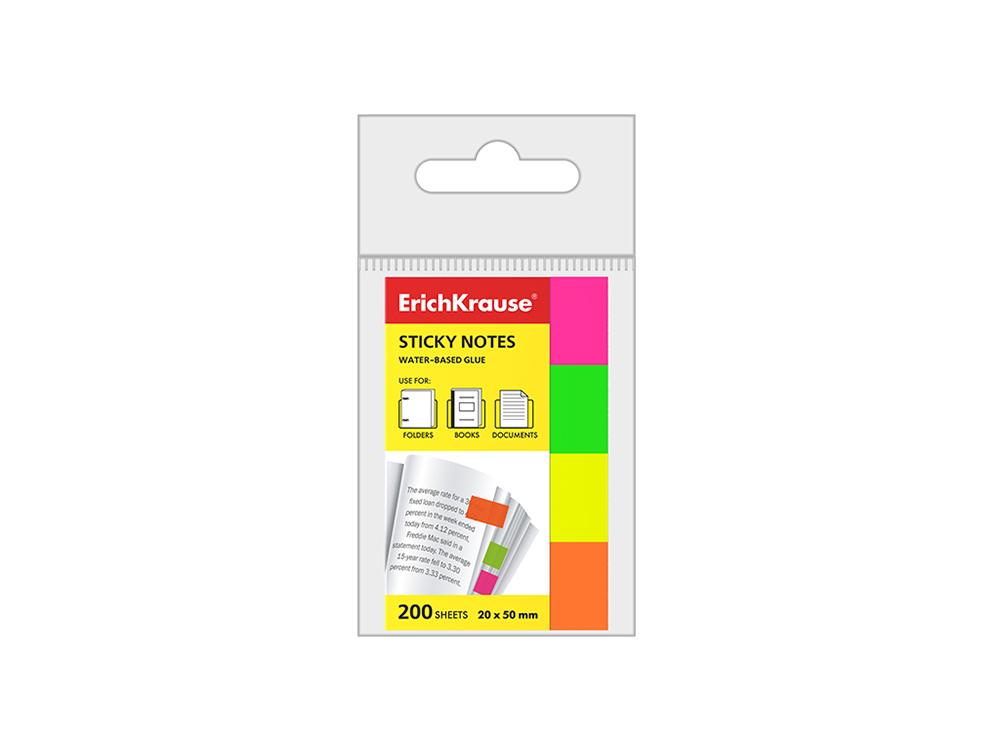Закладки клейкие ERICH KRAUSE НЕОН бумажные, 20*50 мм, 4 цвета*50 листов, 7324 цена