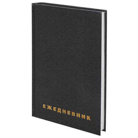 Картинка для Ежедневник BRAUBERG недатированный, А5, 145*215 мм, 160 л., обложка бумвинил, черный, 126540