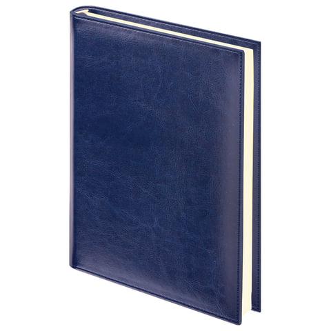 Ежедневник BRAUBERG недатированный, А5, 138х213 мм, Imperial, под гладкую кожу, 160 л., темно-синий ежедневник brauberg imperial а5 160 листов недатированный коричневый