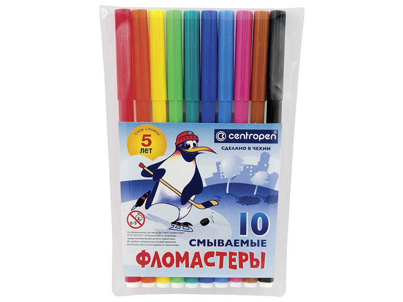Набор фломастеров Centropen Пингвины 1,8 мм 10 шт текстмаркер centropen 8542 1р 1 мм розовый