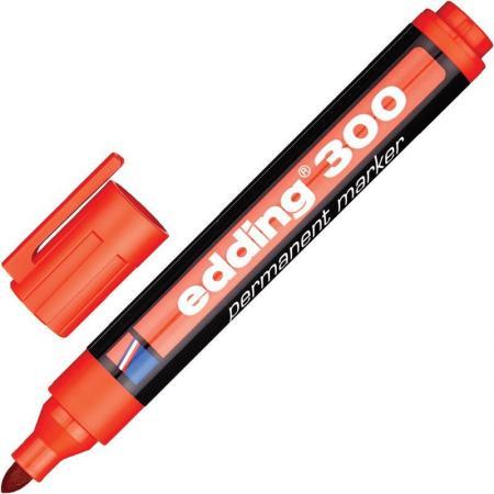 Маркер перманентный (нестираемый) EDDING 300, 1,5-3 мм, круглый наконечник, красный