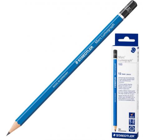 купить Карандаш графитовый Staedtler Mars Lumograph 3H 175 мм дешево
