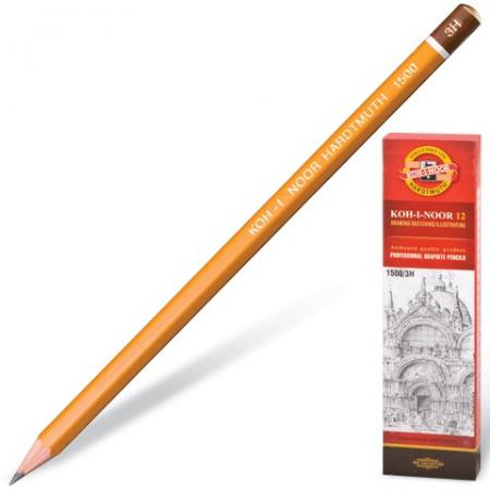 Карандаш чернографитный KOH-I-NOOR 1500, 1 шт., 2B, без резинки, корпус желтый, заточенный, 150002B0 карандаш чернографитный koh i noor 1500 8h 17 5 см 1500 8h