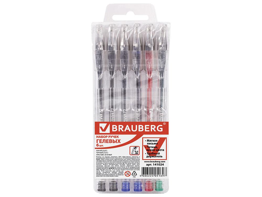 Набор гелевых ручек BRAUBERG Jet 6 шт ассорти 0.35 мм набор ручек гелевых uni цвет чернил красный 12 шт
