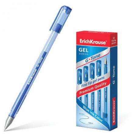 Ручка гелевая Erich Krause G-Tone синяя, корпус тонированный синий, узел 0,5 мм, линия письма 0,4 мм ручка гелевая erich krause g point игольчатый узел 0 38 мм линия письма 0 25 мм синяя