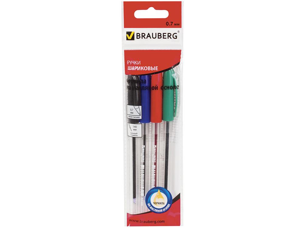 Ручки шариковые масляные BRAUBERG Rite-Oil 4 шт синий красный черный зеленый 0.35 мм